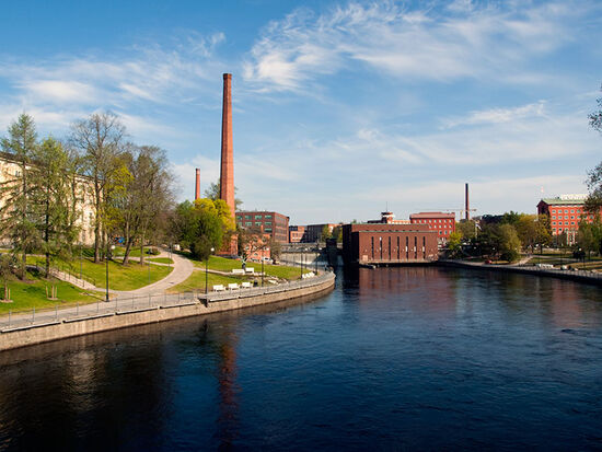 The Tammerkoski River with the Finlayson mills in the Finnish city of Tampere. The city boasts very well-preserved industrial heritage (photo © hidden europe).