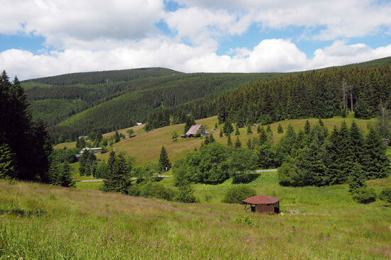 The Beskid Mountains along the Czech-Polish border. Earlier atlases show this upland region as the Sudety Mountains (photo © hidden europe).