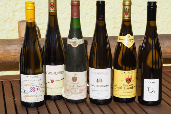 A selection of wines from France's Alsace region (photo © hidden europe).