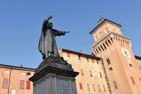 Stefano Galletti's 1875 statue of Savonarola in Ferrara (photo © Kirsty Jane Falconer).