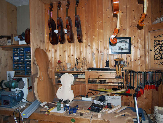 Violin maker Anton Maller's workshop inMittenwald, Germany (photo © hidden europe).