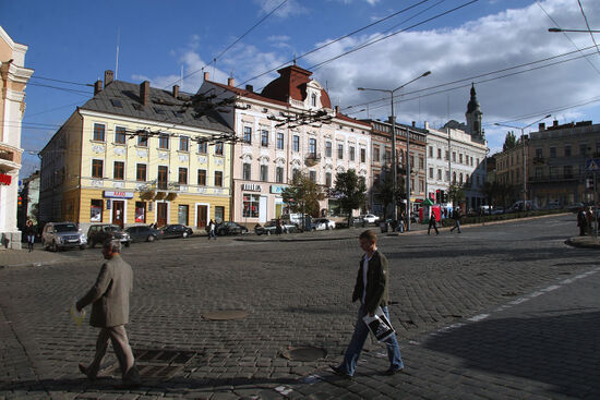 Habsburg period cobbles in one of the squares in Chernivtsi (photo © Laurence Mitchell).