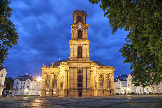 The Ludwigsplatz with the baroque Ludwigskirche in the heart of Saarbrücken, capital of the German state of Saarland (photo © Sergey Dzyuba / dreamstime.com).