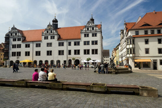 The market square in Torgau, Saxony, with the Rathaus (town hall) on the far side (photo © hidden europe).