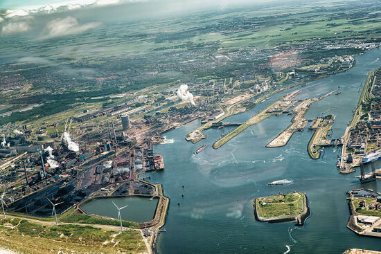 Aerial view of the sluices in the North Sea Canal with the Tata steelworks on the north side of the waterway (photo © Atosan / dreamstime.com).