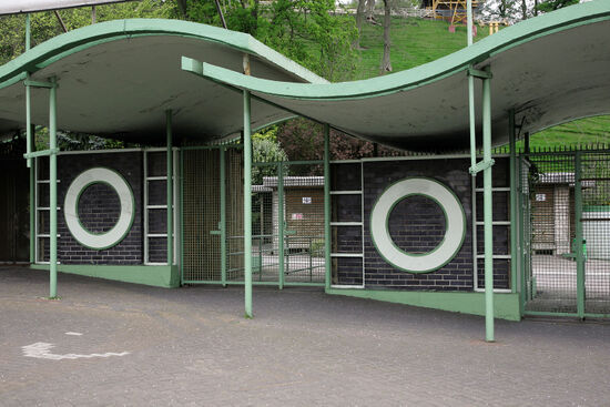 The curves which were so much a feature of Berthold Lubetkin's architecture are very evident in his design for the entrance to Dudley Zoo (photo courtesy of DZG).