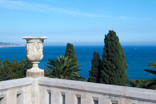 From the terrace of the Palazzo Orengo (within the Hanbury Gardens) looking east. The coastal town in the distance is Bordighera (photo © hidden europe).