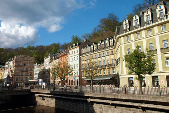 The main stret in Karolovy Vary, formerly known as Karlsbad (photo © hidden europe).