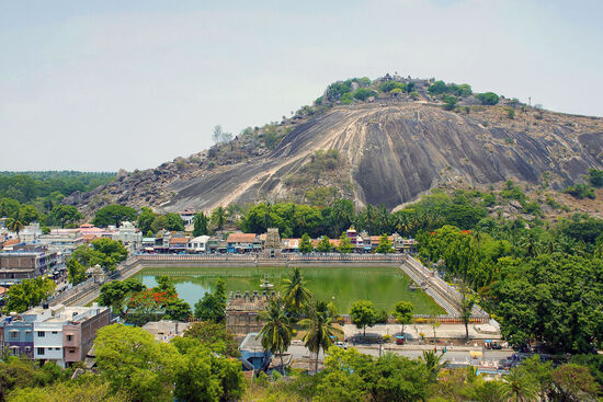 The view towards the Vindhyagiri Hill temple complex - visitors and devotees ascend the hill via a flight of steps (photo © ePhotocorp / dreamstime.com).